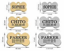 Dog Personalised ID Tag Custom Laser Engraved Bone Shape Brass Steel Gold Plated