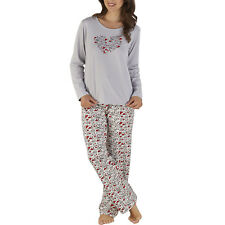 Slenderella Ladies Heart Motif Pyjamas Womens Long Sleeved Top & Bottoms PJs Set