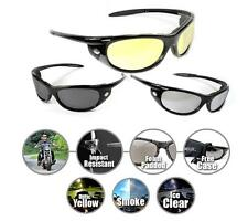 Motorcycle NIGHT Riding Glasses Biker Sunglasses Goggles YELLOW CLEAR SMOKE Mens