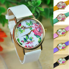 1PC Fashion Womens Watch Ladies Leather Rose Flower Quartz Watches Gift For Girl