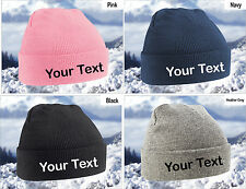 Personalised Cuffed Beanie Hat 4 Colours Available Custom Your Text - Free P&P