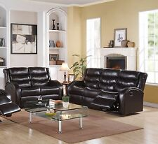 2pc Motion Sofa Set Unique Armrest Sofa & Loveseat Bonded Leather Espresso Couch