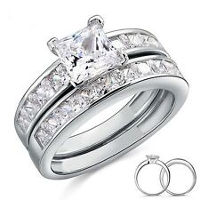 Sterling Silver 2-Pc Wedding Ring Set 1 Carat Princess Cut Created Diamond