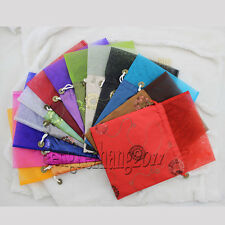 Wholesale Embroidery multicolor Wedding Silk Jewelry Pouch Gift VOILE Bags New