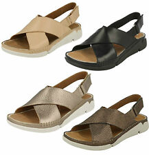 LADIES CLARKS CROSSOVER LEATHER RIPTAPE OPEN TOE SUMMER BEACH SANDALS TRI ALEXIA