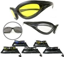 Motorcycle Sun Glasses Goggles YELLOW CLEAR Night riding Foam Size Small -Medium