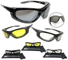 Motorcycle Sunglasses Biker Riding Glasses Goggles Removable Foam Men Large fit