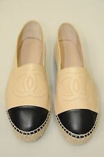 New Chanel 2016 16C  Black Beige Lambskin CC Logo Espadrilles Flats Shoes 40