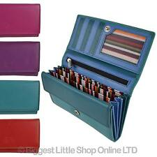 NEW Ladies Long Flap Over LEATHER Purse/Wallet by London LEATHER Goods 4 Colours