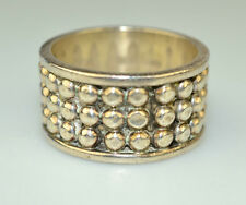 MEXICAN STERLING SILVER MEN'S 1/2 INCH WIDE BAND RING W/ 3 ROWS OF BALLS SIZE 12