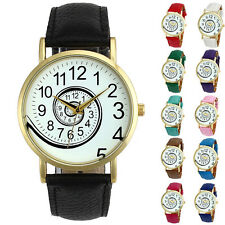 Cool Men Womens Watches Faux Leather Analog Spiral Quartz Wrist Watch Gift Don