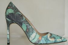 $995 New Manolo Blahnik BB 105 EXOTIC Teal Green Blue Cream Snake Shoes Pumps 37