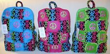 Quilted BACKPACK with MULTI-COLOR PEACE SIGNS Patchwork Backpack Purse