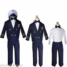 Baby Boy Toddler Navy Captain Nautical Formal Costume Suit Outfits sz S-XL 2T-4T