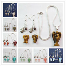 Charming Carved Mixed Stone & Tibet Silver Angel Necklace & Earrings Set Yang652