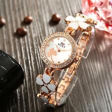 Women Lady Flower Bracelet Watch Lucky Clover Crystal Quartz Classic Watch K8U2