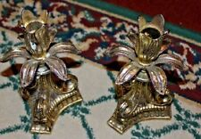 Vintage Silver Metal Tulip Shape Candlestick Holders-Pair Metal Candle Holders