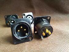 2Pcs Gold Plated XLR Male Chassis Socket Panel Connector Audio HIFI
