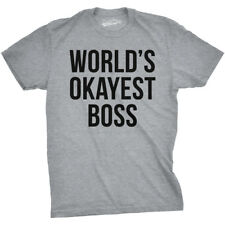 Mens Worlds Okayest Boss Funny Office Career T shirt (Grey)