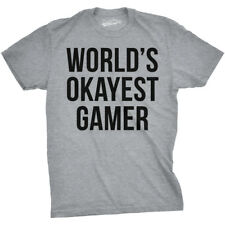 Mens Worlds Okayest Gamer Funny Video Game Nerdy T shirt (Grey)