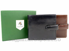 NEW Mens Quality LEATHER WALLET by VISCONTI in Black Or Brown Veg Tan Gent Coins