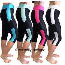 Womens 3/4 Workout Leggings Gym Yoga Sport Leggings with Poackets 10 12 14 -spp6
