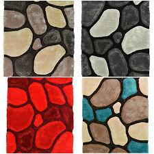 LARGE THICK SOFT SUMPTUOUS 3D DEEP TEXTURED SHAG PILE PEBBLE STEPPING STONES RUG