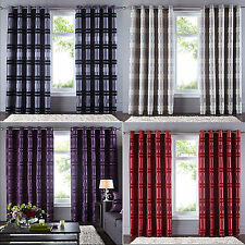 Queen Alessia Ring Top Eyelet Luxury Striped Chenille Curtains Bed Room Lounge