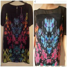 M&S Twiggy Multi Floral Black Shift Dress Short Sleeves Rrp £39.50 *REDUCED****