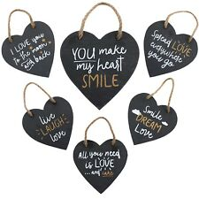 Slate Love Heart Hanging Plaque Door Wall Sign Family Laugh Cute Sayings Gift