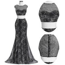 Sequins Two-Piece Set Evening Prom Gown Dress Long Formal Party Cocktail Dress
