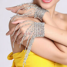 Belly Dance Ornaments 1PAIR Arm Bracelet Elastic Beading Tassels in Silver/Gold