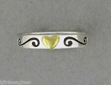 Far Fetched Heart with Swirls Stackable RING Size 6 7 8 Sterling Silver Jewelry