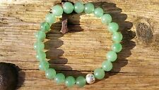 Green Aventurine Bracelet, Sterling Silver Beaded Bracelet, Stretch, UK Handmade