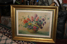 Vintage Floral Flowers Oil Painting On Canvas-Signed-Bouquet Flowers Painting
