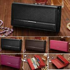 Women High Quality Solid Button Leather Hand Bag Long Clutch Wallet Purse Gifts