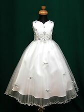 New White+Silver Flowergirl Pageant Communion Wedding Bridesmaid Dress Sz 3/4/5