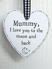 Mummy I Love You To The Moon And Back Heart Plaque Sign Black - Mum Mother Gift