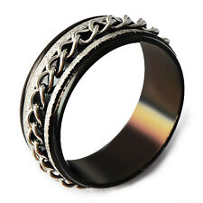 Mystic Black Stainless Steel Band Chain Spinner Mens Ring Size 7-11 mens Hot