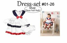 Baby Infant Toddler Dress + Pant Set Summer Spanish Brand - White Sailor styled