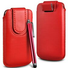 Red Magnetic PU Leather Pull Tab Flip Case Cover & Stylus for Mobile Phones