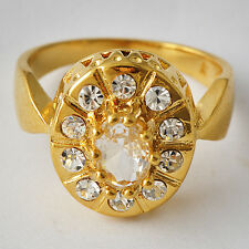 Authentic Womens Clear CZ vintage Yellow Gold Filled wedding  Band Ring Size7-9