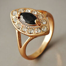 Fashion Womens Gold Filled Crystal Black Onyx Oval Eye Band Rings Size 6-7