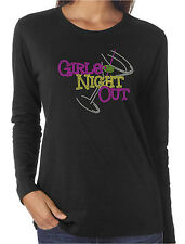 Girls Night Out Rhinestone Funny Women's Long Sleeve T-Shirts Drinking Partying