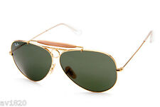 NEW RAY BAN AVIATOR RB3138 ARISTA,GOLD GREEN,GREY100% UV 62MM  MADE IN ITALY
