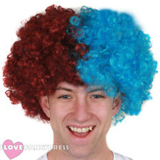 CLARET AND BLUE AFRO WIG FOOTBALL SUPPORTERS FANCY DRESS ACCESSORY NOVELTY HAIR