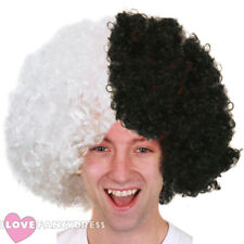 WHITE AND BLACK SUPPORTERS AFRO WIG FOOTBALL FAN FANCY DRESS NOVELTY CURLY HAIR