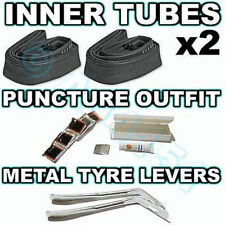 2x Inner tubes & Puncture Repair Outfit & Tyre Levers - BMX Mountain Bike Cycle