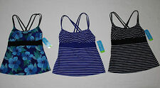 NEW WOMENS TROPICAL ESCAPE DOUBLE STRAP TANKINI SWIMSUIT TOP NWT $44