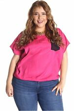 121AVENUE Attractive Open V Back Top 1X L Large Women Pink Casual Short Sleeve